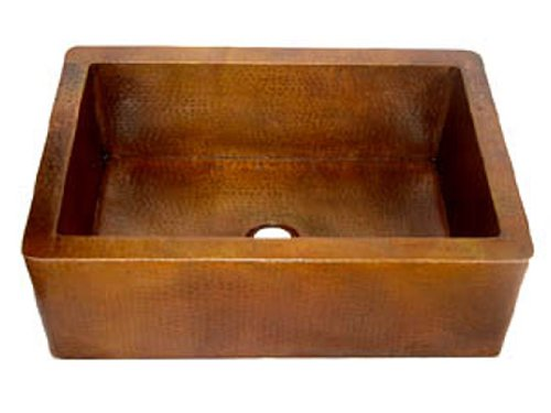 Classic Farmhouse Apron Copper Sink – Light Brown – Standard 33″x22″x9″