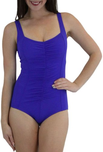 ToBeInStyle Women's One Piece Swimsuit Draped Front Panel Control Bikini Wide Straps Molded Cups Lined - Royal Blue - 16