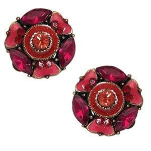 Yamha Pink Crystal Clip On Earrings