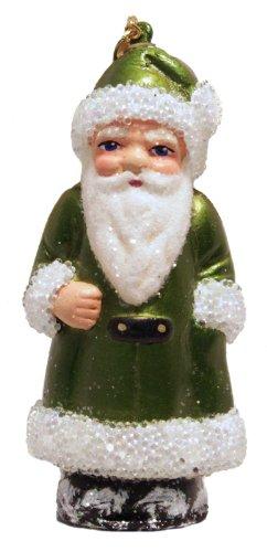 Ino Schaller Green Coat Santa with Beaded Trim Paper Mache Christmas Ornament