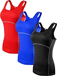 Neleus Women's 3 Pack Dry Fit Compression Long Tank Top