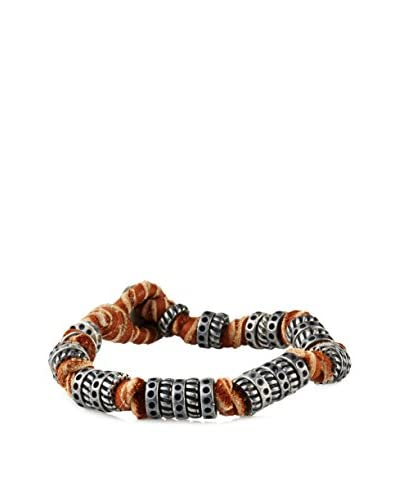 Ettika Doughnut and Knot Rust Deerskin Leather Bracelet