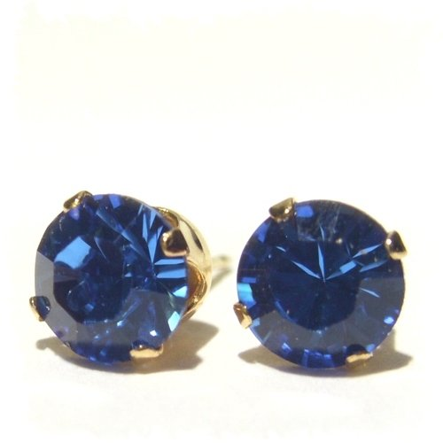 Men's 18 carat Gold plated 925 Sterling Silver Stud Earrings set with Sapphire Blue Swarovski Crystal Stones. Gift Box. Beautiful jewellery for very special people.
