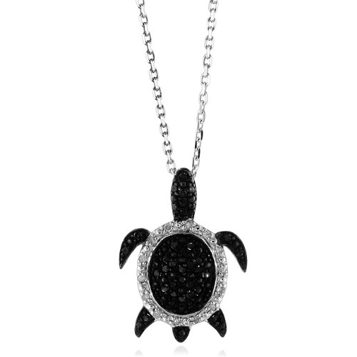 Sterling Silver Black and White Diamond Turtle Pendant (1/4 cttw)