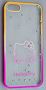 Luxury Crystal Rhinestone Back Case cover For iPhone 5 5s 5c Diamond Gold Slim Shining Bling Electroplating with Drill Phone case - Hello Kitty