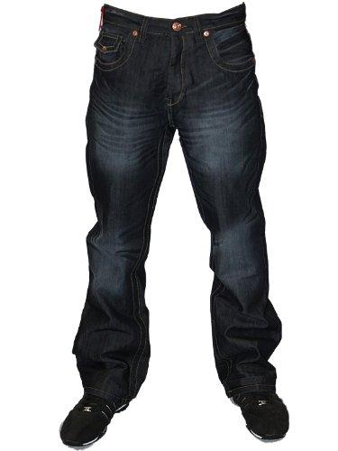 Mens Darkwash APT-A Designer Branded Button Fly Boot Cut Denim Jeans W38 L32