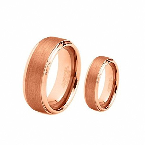 Men'S & Ladie'S 8Mm/6Mm Rose Gold Brushed Center Step Edge Tungsten Carbide Wedding Band Ring Set , Sizes 5-14 Including Half Sizes . Please E-Mail Sizes , Ladies Size 6.5 - Mens Size 9