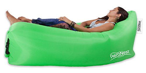 AeroNest Air Lounger. Quick Inflatable and Packable. Lightweight and Comfortable Beach Couch Beanless Bag Chair (Green)