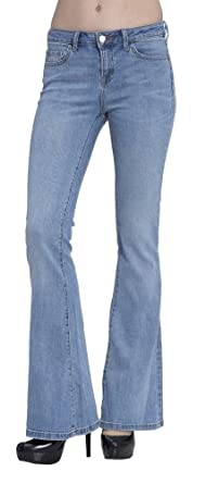 (2200) JNCO Forever Young Stretch Flare Jeans in Light Wash Size: 0