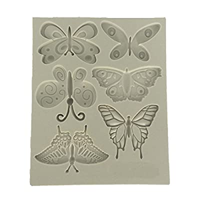 Butterflies Silicone Candy Mold for Cake Decoration, Cupcake Decorate, Polymer Clay, Crafting, Resin Epoxy, Jewelry Making 11.3x9.3x1cm