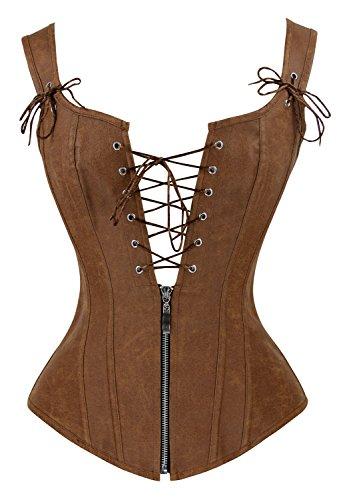 Charmian Women's Renaissance Lace Up Vintage Boned Bustier Corset with Garters 0