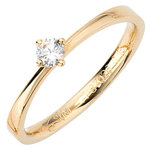 Elegant Gold Ring Shiny Diamond 585 Yellow Gold Ring