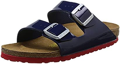 Birkenstock Arizona, Sandales femme - Bleu (Vernis Dress Blue/Ls Red), 38 EU
