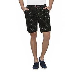 Origin Dark Green Cotton Printed Shorts for Men