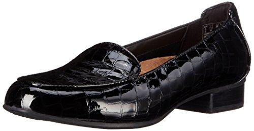 Clarks Women's Keesha Luca Slip-On Loafer, Black Crocodile Patent, 8.5 M US