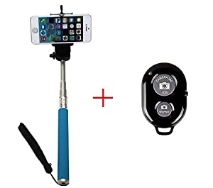 AFUNTA Extendable Camera Self Selfie Portrait Shooting Pole Adjustable Handheld Stick Monopod Pod with 1/4 inch Screw Hole Adjustable Smartphone Adapter Monopod Mount Phone Holder for iPhone 4 / 4S / 5 / 5s / 5c, HTC One LG Sony, Samsung Galaxy S5 S4 S3, Nexus Mobile Cell Phone - Blue + Bluetooth Remote Camera Wireless Shutter - Black