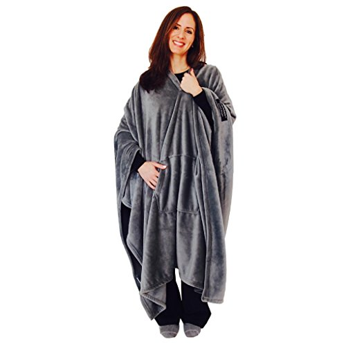 throwbee Blanket-Poncho Wearable Throw Coat for Indoors, Outdoors, Men, Women & Kids, Gray
