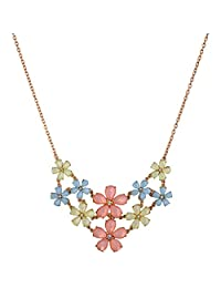 NK Jewels Fashion Jewellery Collection Multicolor Flower Charm Choker Statement Pendant Necklace