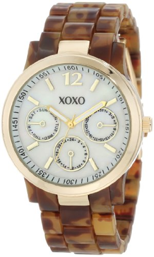XOXO Womens XO5509 Tortoise Bracelet with Gold Case Watch