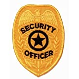 "SECURITY OFFICER Guard Gold Uniform Badge Shield Patch Emblem Insignia 2-3/8"" x 3-3/4"" (2 Patches Included, Pair !)"