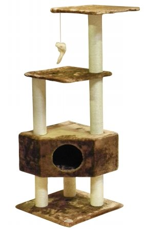 Go Pet Club Cat Tree Condo House Furniture, 51-Inch, Brown