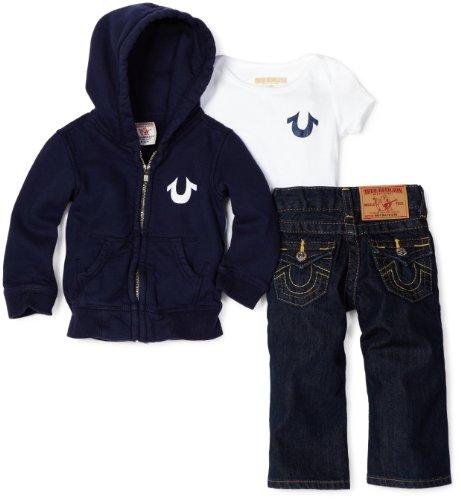 601c85e52 True Religion Baby Boys Infant Classic Puff Logo Three Piece Gift Box Set  Dark Navy 6 12 Months