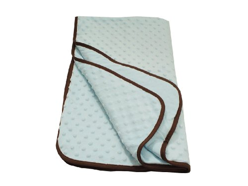 American Baby Company Minky Dot Portable/Mini Crib Comforter with Chocolate Trim, Blue