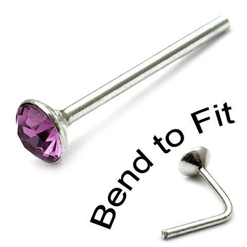 Sterling Silver Swarovski Crystal Nose Stud. Purple 2mm round gem. TDi-ST2 single stud