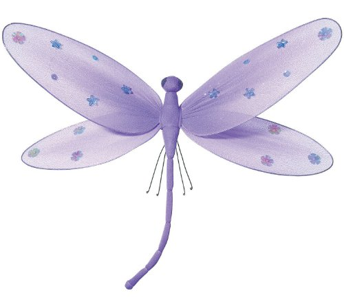 "Hanging Dragonfly 9"" Medium Purple Nylon Dragonflies with Sequins and Glitter for Baby Nursery Bedroom Décor, Girls Room Ceiling Wall Décor, Wedding Birthday Party, Baby Bridal Shower Decoration"