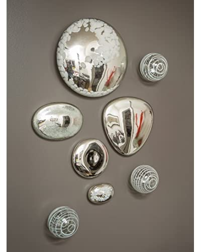 Worldly Goods Set of 5 Wall Stones & 3 Wall Spheres, Silver & White