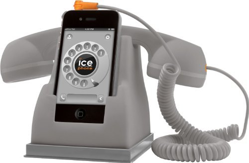Izka® - Retro Multi Docking Station Desktop Charger Including Retro Handset For Apple Iphone 5 5S 5C (Silver - Compatible With Most Mobile Phones And Computers)