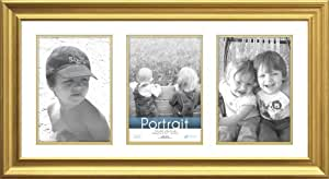 Timeless Frames 10x20 Inch Fits Three 5x7 Inch Photos Lauren Collage Frame, Gold