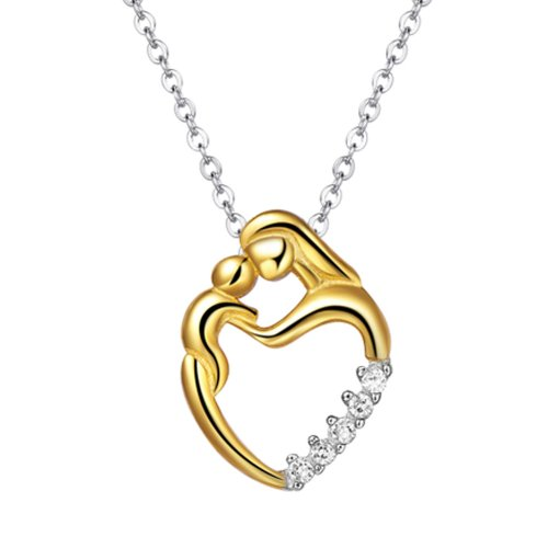 Chaomingzhen Gold Plated 925 Sterling Silver 5 Stone Cubic Zirconia Charm Mother and Child Baby Pendant Necklace for Women Fashion Jewellery Chain18