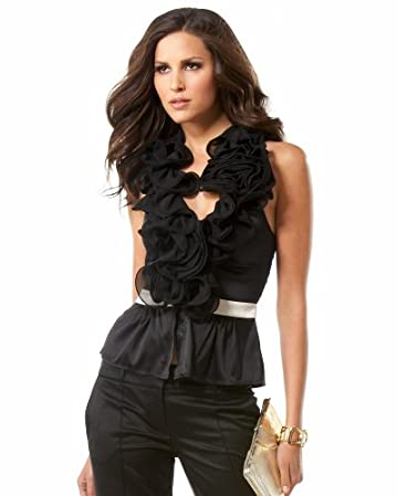 bebe Ruffle & Rosette Bloom Halter Top from bebe.com