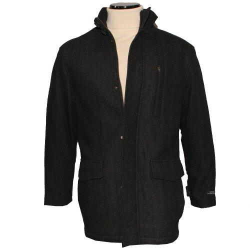 Mens Dark Charcoal Herringbone Wool Blend Car Coat