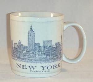 Starbucks New York City Mug The Big Apple Collector Coffee Mug (White/Blue (NY Architectural Series))