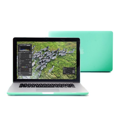 "GMYLE (R) Robin Egg Blue Turquoise 15.4"" inches Macbook Pro WITH RETINA DISPLAY Frosted Rubber Coated Hard Snap Clip On Case Cover"