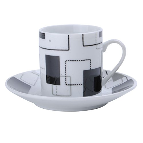 Porcelain China Espresso Cups And Saucers Turkish Coffee Demitasse Interlocking Squares Design front-262338