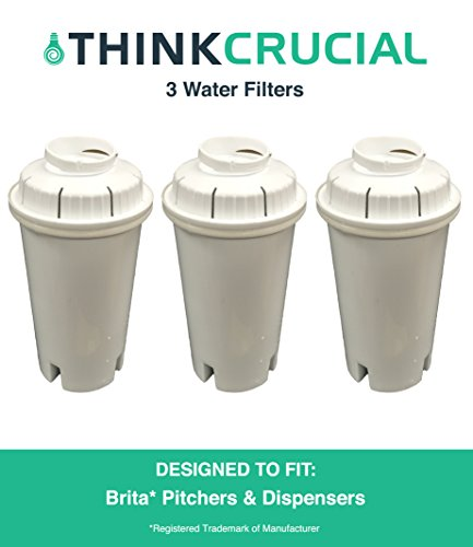 3 Brita Replacement Water Filters Fit Pitchers & Dispensers, Designed & Engineered by Think Crucial