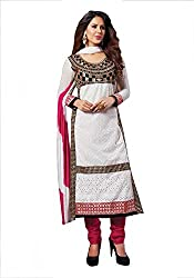 Divisha Fashions White and Golden Cotton Unstitched Churiddar Suit with Dupatta