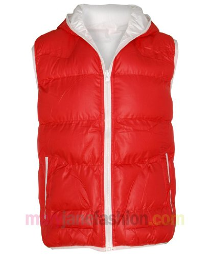 Mens Reversible 2 Coloured Piped Hooded Quilted Gilet Jacket Bodywarmer S Red