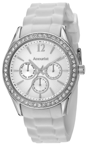 Accurist Women's Quartz Watch with White Dial Analogue Display and White Silicone Strap LS432W