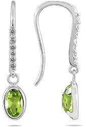 1 1/5 Carat Bezel Set Oval Peridot and Diamond Earrings in 10K White Gold