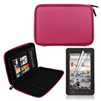 Pink 7 Inch EVA Hard Shell Cover Case + LCD Screen Protector for Coby MID7012 7-Inch Kyros Android Touchscreen Tablet by Skque