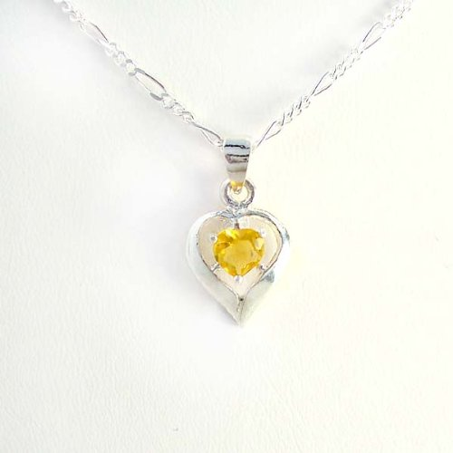 Birthstone November Yellow Topaz Heart Crystal Sterling Silver Necklace, 20