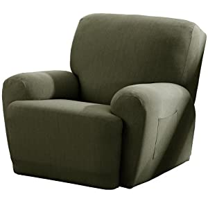 Maytex Stretch Twill 4-Piece Recliner Cover, Olive