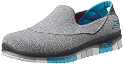 Skechers Performance Women\'s Go Flex Slip-On Walking Shoe, Charcoal/Blue, 5 M US