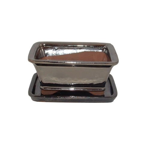 16cm Metallic Finish Bonsai Pot and Tray Set