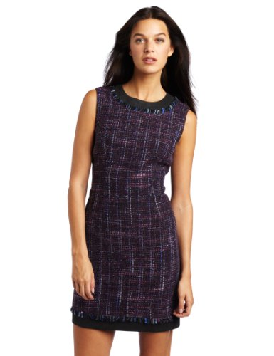 Trina Turk Women's Meadowlark Tweed Shift Dress, Wineberry, 10