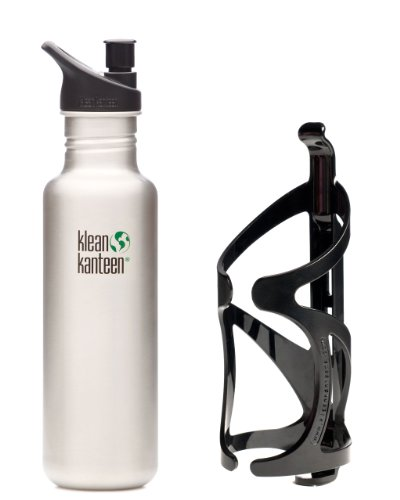 Klean Kanteen 27 oz Brushed Stainless Steel Water Bottle with Sport Cap 2.0 and Bike Cage